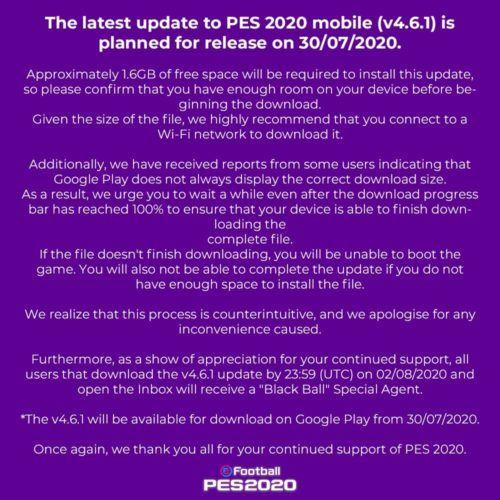 pes 2020 mobile update v4 6 1