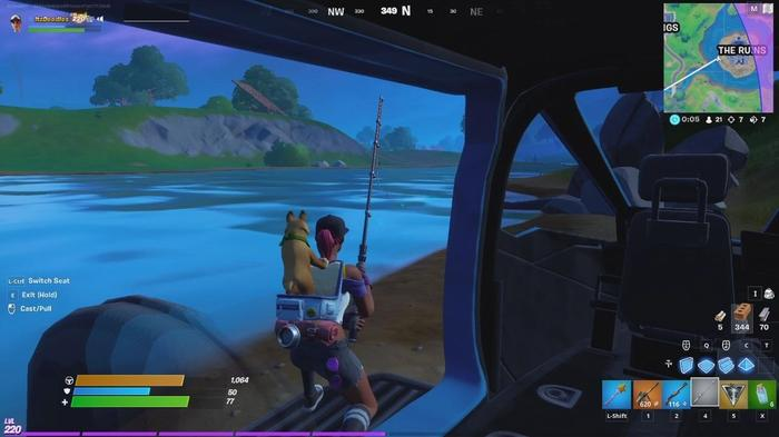 Fortnite XP Xtravaganza Week 4 Fish For Items From A Motorboat