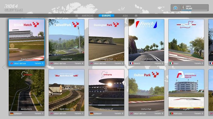 Ride 4 Track selection screen Europe