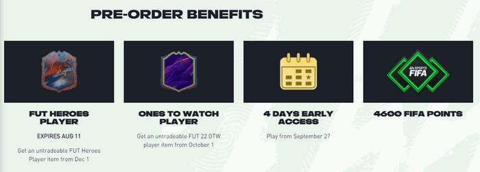 fifa 22 ultimate edition pre-order bonus