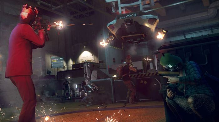Watch Dogs Legion Multiplayer co-op red suit king shooting