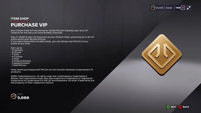 F1 2020 Purchase VIP