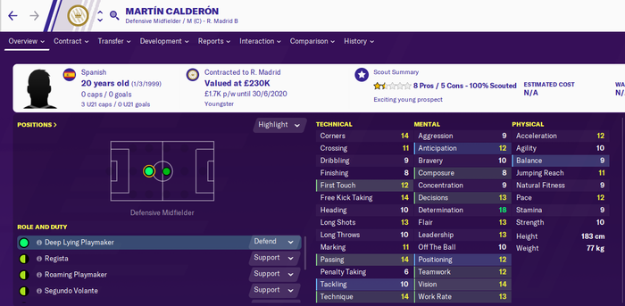 Martin Calderon's stats page in Football Manager 2020