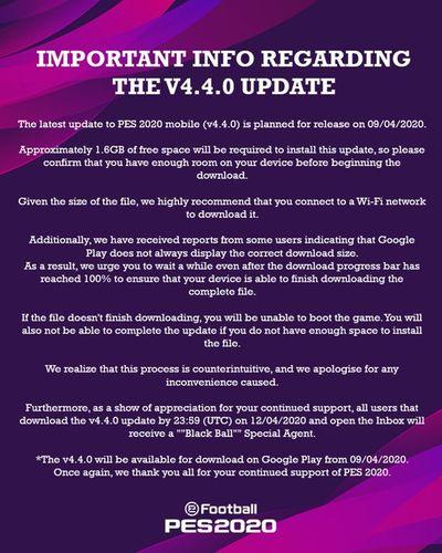 pes mobile update v4 4 0