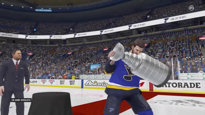 The St Louis Blues celebrate a Stanley Cup victory in NHL 22.