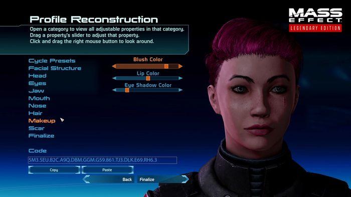 Mass Effect Legendary Edition Changes Character Customisation screen