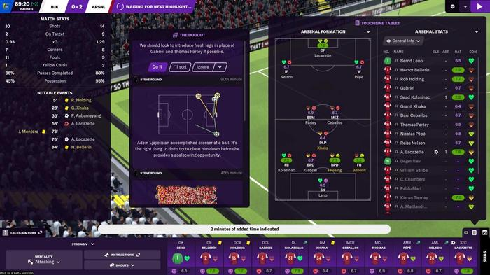 In-game screen for Football Manager 2021