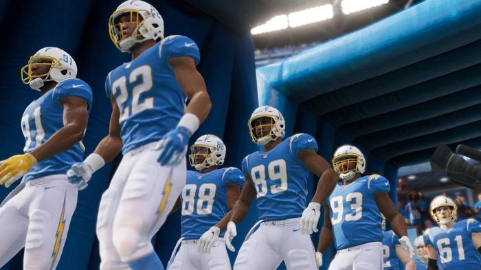 The Los Angeles Chargers in Madden 22
