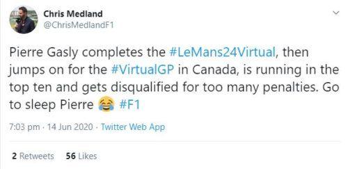 Chris Medland Tweet Pierre Gasly DSQ