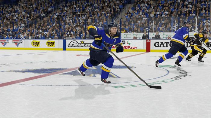 Blues winger Vladimir Tarasenko skates up the ice in NHL 22.