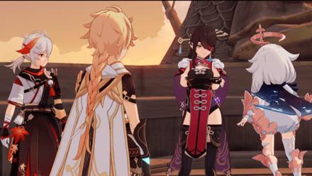 Genshin Impact Traveler, Paimon, Beidou, and Kazuha
