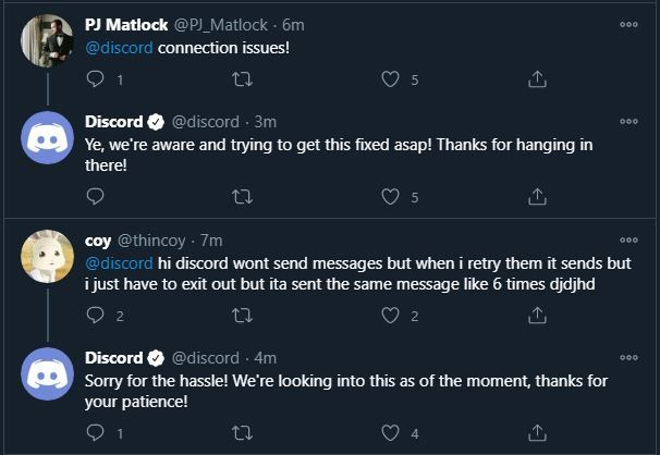 Discord Responds to server issues connection messages