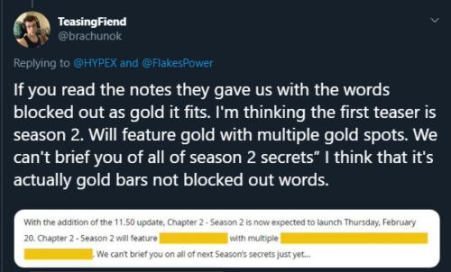 Fortnite gold tweet