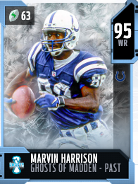 Marvin Harrison's 95 OVR Ghosts of Madden - Past MUT card