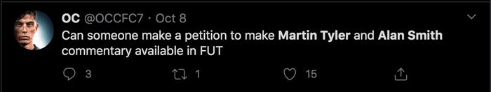 fifa 21 commentator fan tweet