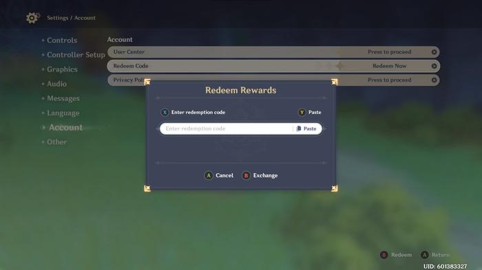 Genshin Impact in-game code redemption screen