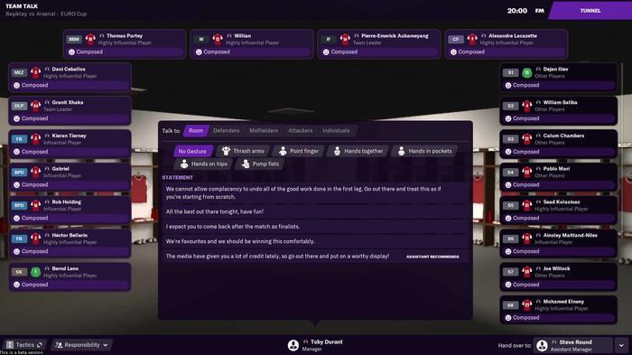 Team talks in Football Manager 2021