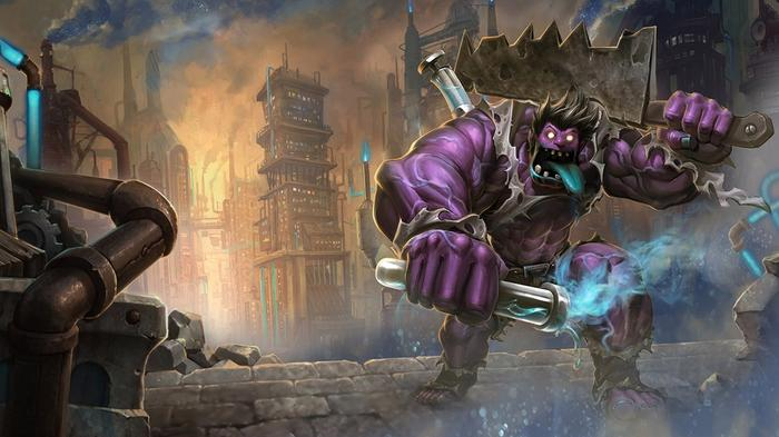 A monster with Frankenstein appearance coming out to destroy a city in Wild Rift
