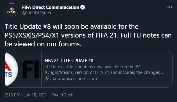 FIFA 21 Title Update Patch Notes Release Time PS5 Xbox Series X Xbox One PS4