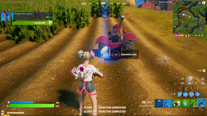Fortnite week 4 quest clue next to tractor