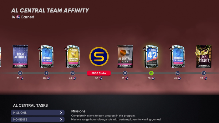 MLB The Show 21 March to October Diamond Dynasty Team Affinity