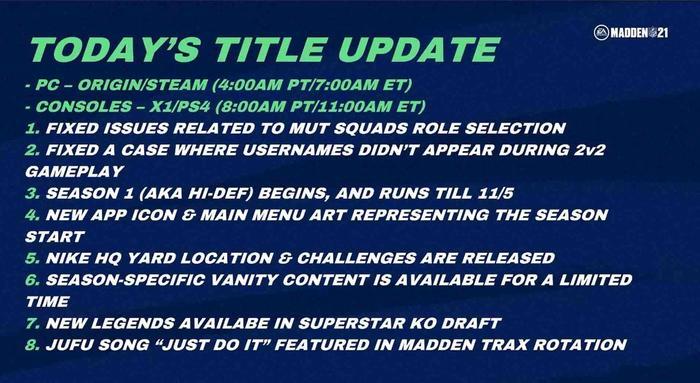 Madden 21 title update 3 1