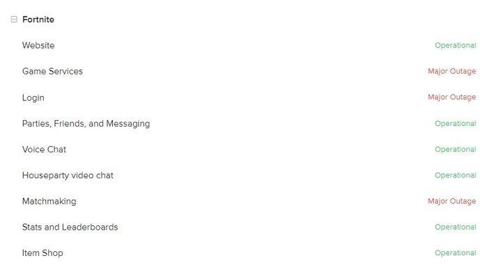 DOWN: Fortnite has gone offline.
