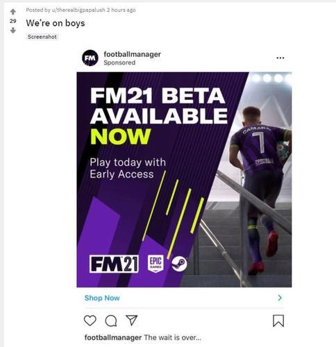 FM21 beta now out reddit instagram