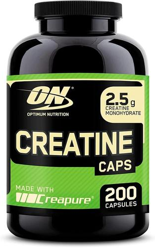 Best creatine supplement Optimum Nutrition capsules product image of a black container with green and gold details