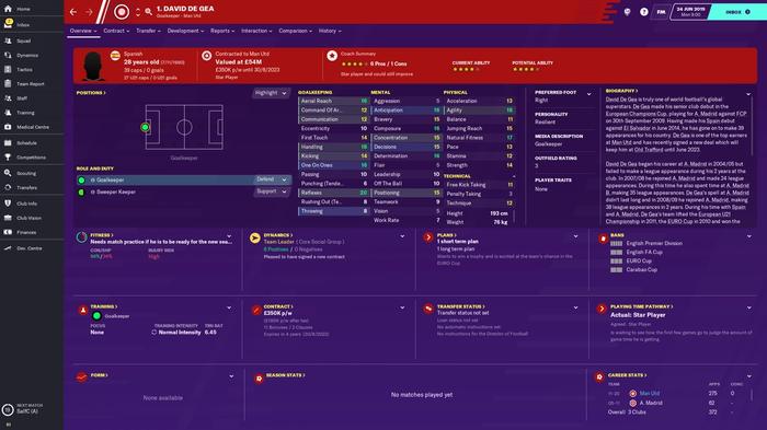 Man Utd's David De Gea's FM 20 stats page