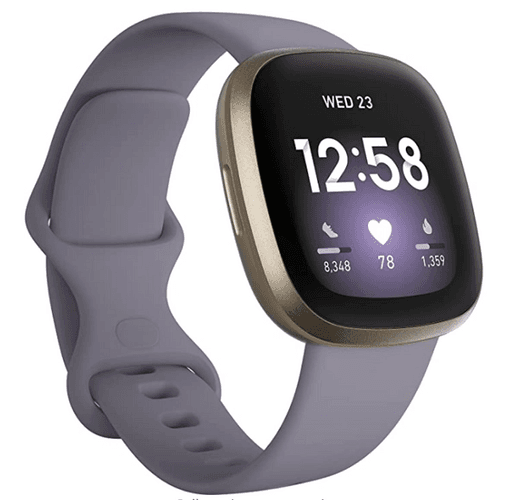 Best Fitbit Versa 3 product image of a soft gold and thistle smart watch