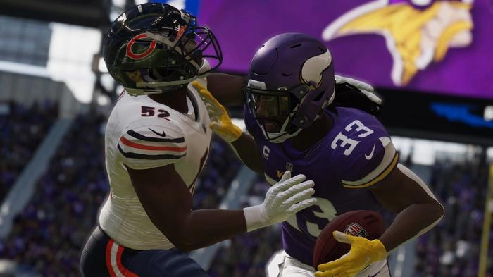 Dalvin Cook performs a stiff arm in Madden 22