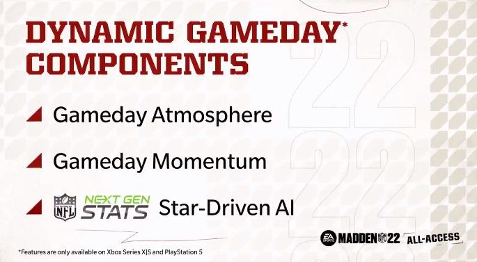 A screenshot of the Dynamic Gameday components in Madden 22