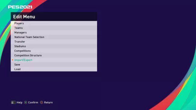 edit menu pes 2021 option file