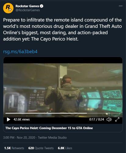 GTA Online Cayo Perico Heist Tweet