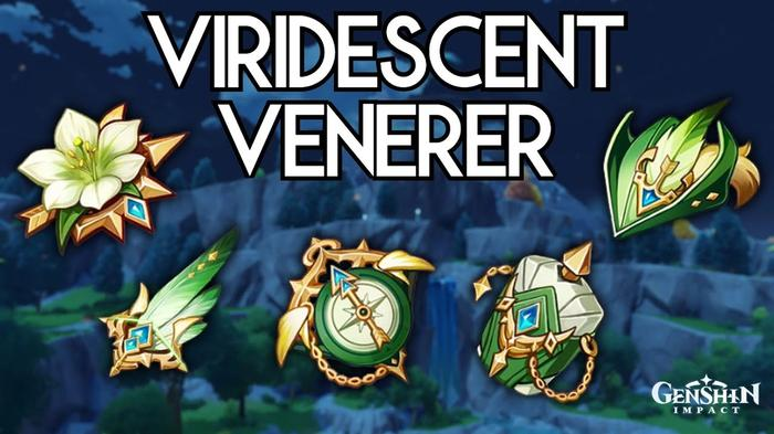 The Viridescent Venerer is an artifact set consisting of five items: the Flower of Life, Plume of Death, Sands of Eon, Goblet of Eonothem, and Circlet of Logos