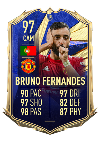 fifa 21 ultimate team bruno fernandes team of the year