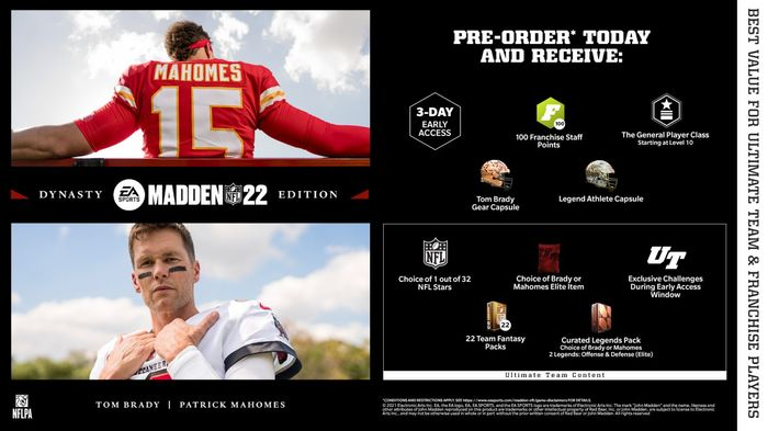 Madden 22 Editions Dynasty Edition MVP Edition Standard Edition Next Gen Current Gen Xbox Series X|S One PS4 PS5