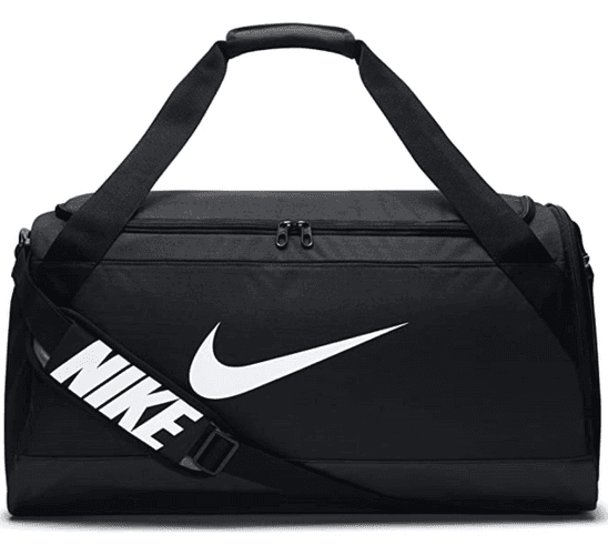 Best gym bag Nike product image of a black bag with a white nike tick and branding