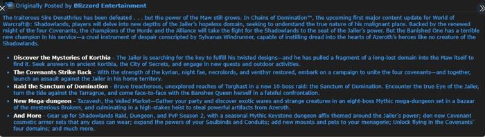 BlizzCon 2021 Shadowlands Chains of Domination Sanctum Raid Jailor Sylvanas Tarragrue Bosses