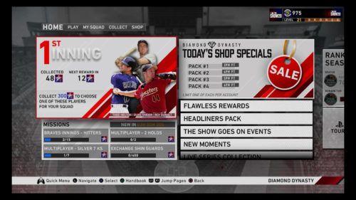 MLB The Show 20 Diamond Dynasty home screen