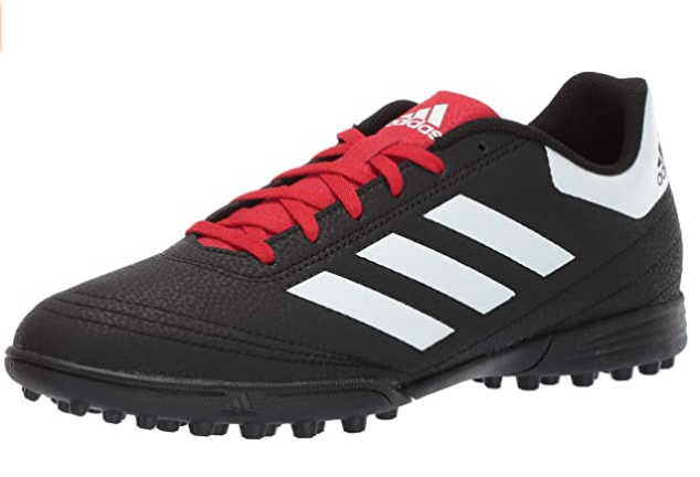 Best astroturf football boots adidas Goletto product image of a singular black boot with a red tongue