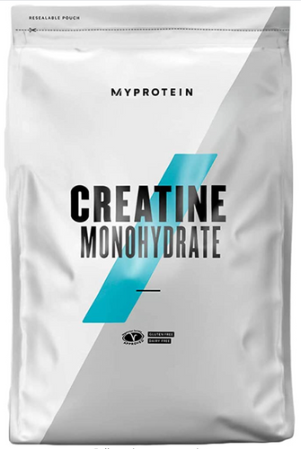 Best creatine supplement MyProtein product image of a white bag of creatine with a blue strike diagonally across the middle