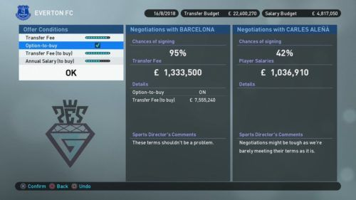 pes master league option to buy