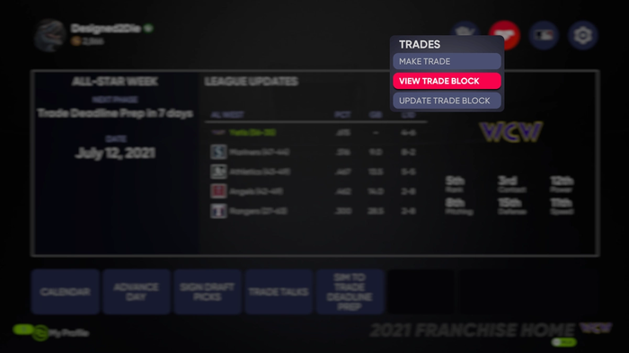MLB The Show 21 trade trades trading Franchise Mode