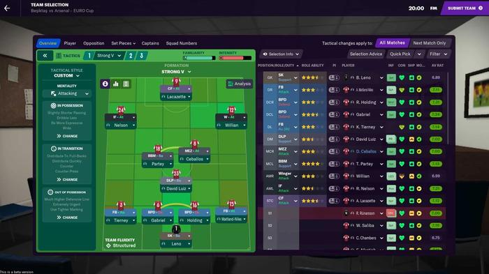 pre-match tactics in Football Manager 2021