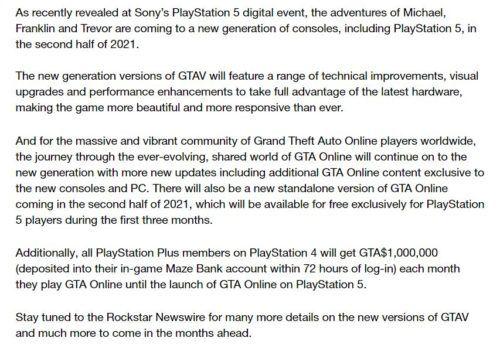 GTA V Rockstar Games post Next Gen