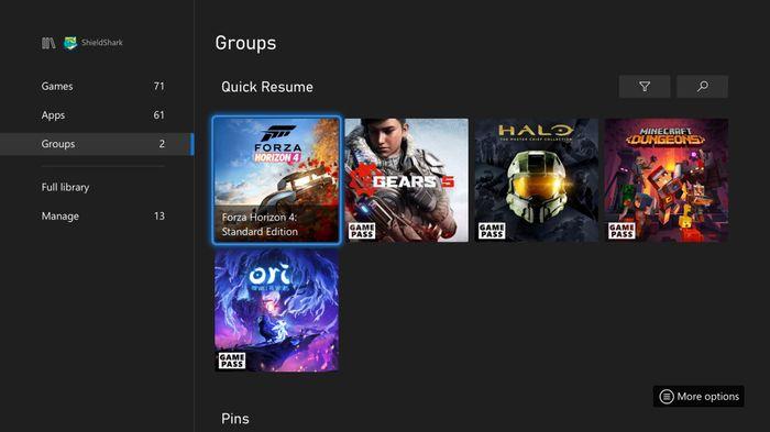Xbox Quick Resume Groups