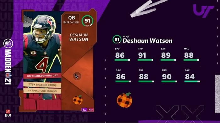 Madden 21 Deshaun Watson Next Gen Autumn Blast Ratings