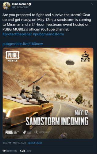 PUBG Mobile Sandstom in Miramar 1